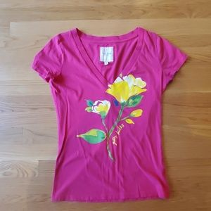 Pink Gilly Hicks top with painted yellow flower